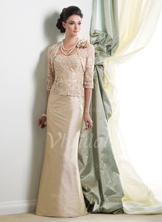 Mother of the Bride Dresses - $142.99 - Sheath/Column Strapless Floor-Length Taffeta Lace Mother of the Bride Dress With Beading (00805008349)