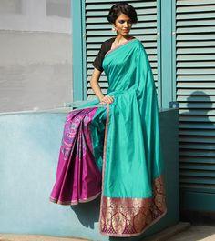Blue & Mauve Silk Patola Saree