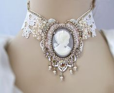 Bridal lace necklace with bead embroidery, cameo necklace, statement necklace, v. Bridal lace necklace with bead embroidery, cameo . Vintage Wedding Jewelry, Bridal Jewelry, Jewelry Accessories, Jewelry Design, Wedding Accessories, Jewelry Sets, Lace Necklace, Gold Necklaces, Statement Necklaces