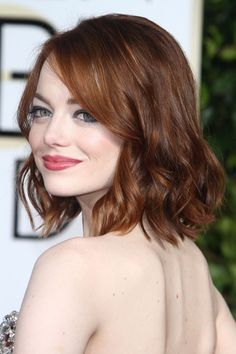Emma Stone Wavy Auburn Bob Hairstyle   Steal Her Style