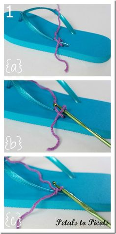 Petals to Picots Crochet: Crocheted Flip Flops Tutorial with Flower Pattern