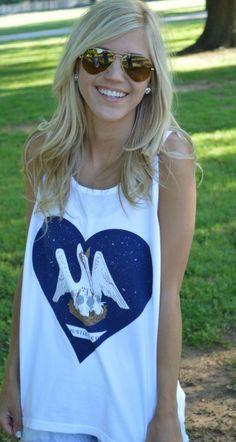 Louisiana Pride Tank White from Lauren James- love her hair