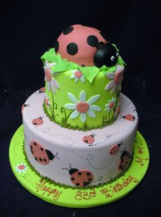 Ladybug Cake- like the bottom tier and do it in baby pink with red ladybugs