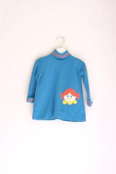 Vintage girls dress knit blue and orange  2/3T by fuzzymama, $16.00