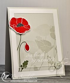Stamps: My Favorite Things Pretty Poppies, Hero Arts Remember clear set Paper: My Favorite Things Grout Gray Ink: My Favorite Things Grout Gray, Simon Says Stamp Lipstick Red, Olive, Versamark