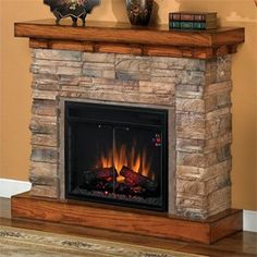 """Flagstone 23"""" Electric Fireplace in Stacked Stone with 23EF025GRA Electric Insert"""