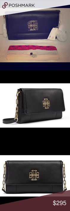 Tory Burch Britten Fold-Over Crossbody Bag Tory Burch Britten Fold-Over Messenger Crossbody Shoulder Bag Black Leather  Tory Burch Britten Fold-Over Messenger Crossbody Shoulder Bag Black Leather  Defined by a clean, versatile shape punctuated with a cut-out double-T logo, the Britten Fold-Over Messenger is made of soft pebbled leather. The bag features an exterior back zip compartment, an adjustable cross-body strap and multiple interior pockets. It's graphic and polished — a great style…