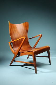 Armchair  Designed by Axel Larsson, Sweden. 1950's.   Mahogany plywood. It is so beautiful
