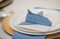 Aviation themed wedding, airplane Place card, DIY, gold charger, blue napking, menu, Air Force Wedding Wedding Details, Wedding Ideas, Wedding Themes, Wedding Planning, Wedding Inspiration, Wedding Gowns, Wedding Decorations, Wedding Bells, Aviation Wedding