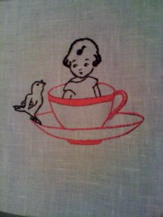 Tea cup embroidery by Little House London, via Flickr