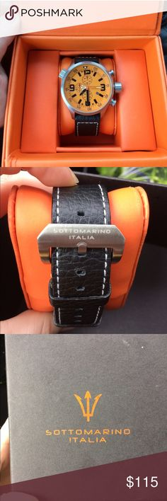 Men's Orange Sottomarino Italia Watch Men's Orange Sottomarino Italia Watch. Great condition, worn maybe three times. Gorgeous leather band, large, bold face. Comes in original box. Sottomarino Italia Accessories Watches