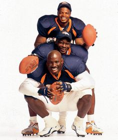 Broncos RBs Olandis Gary, Mike Anderson and Terrell Davis smile...