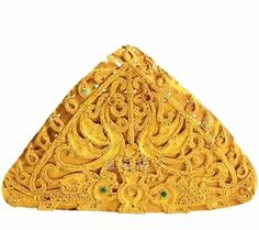 Gold headdress ornament with bird and fish motifs, Eastern Jin Dynasty 317-420 AD; excavated in Nanjing, China