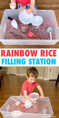 Make a rainbow rice sensory bin for toddlers and preschoolers - a quick & easy activity from Busy Toddler. : Make a rainbow rice sensory bin for toddlers and preschoolers - a quick & easy activity from Busy Toddler. Sensory Activities Toddlers, Preschool Learning Activities, Indoor Activities For Kids, Infant Activities, Kids Learning, Parenting Toddlers, Educational Activities, Toddler Sensory Bins, Activities For 2 Year Olds Indoor