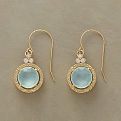 """SCROLLED CHALCEDONY EARRINGS Item No. 64636$950.00 Three white sapphires crown scrolled rims of gold, regal settings for faceted blue chalcedony. French wires. A Suzanne Kalan design handmade in USA of 14kt gold. 1""""L."""