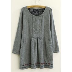 Elegant & Charming Round-neck Double-breasted 3/4 Length Sleeve Embroidery Pocket Loose Dress----Gray