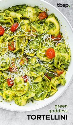 We put this green goddess dressing on everything, but this way is our number one favorite. A veggie-packed version of pesto, this creamy sauce pairs perfectly with cheese-filled tortellini for a fresh dinner.