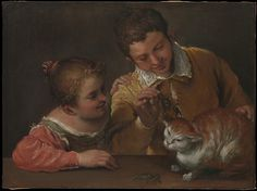 Annibale Carracci (Italian, 1560-1609). Two Children Teasing a Cat, 1588-90. The…