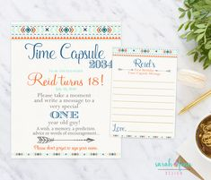 Time Capsule, First Birthday, Boho Tribal Time Capsule Sign, Wild One Birthday Party, Boy Blue Mint Orange, 1st Birthday, Printable, Arrow by SarahFinnDesign on Etsy