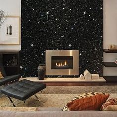 Gunmetal grey Glitter wallpaper featured on a Chimney Breast wall. 5 Metres of Glitter used here for This wallcovering is available in over 70 colours and two different textures. - Home Decorating Magazines Grey Glitter Wallpaper, Wallpaper Roll, Paint Wallpaper, Feature Wallpaper, Wallpaper Gallery, Wallpaper Online, Modern Wallpaper, Black Wallpaper, Glitter Floor