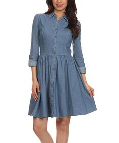 Another great find on #zulily! Blue Fit & Flare Shirt Dress #zulilyfinds