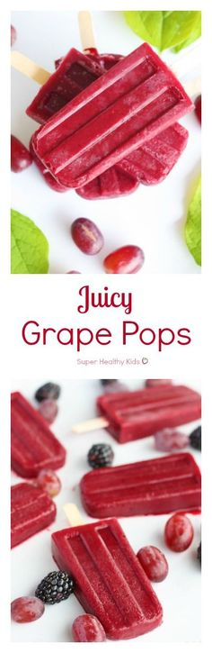Juicy Grape Pops. Made with only grapes, these are refreshing, packed with vitamin C, and perfect for a thirst quenching treat. http://www.superhealthykids.com/juicy-grape-pops/