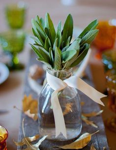 Arrange fresh sage in a vase or milk jug for a fragrant, beautiful, and even edible centerpiece.
