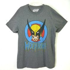 07e7f229bad Details about Marvel Wolverine T Shirt Sz L Old Navy Collectabilitees Gray  Cotton