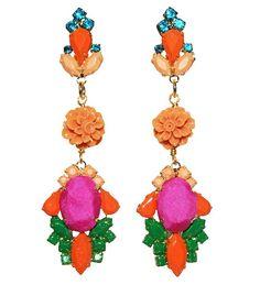 Karaleva luxury statement earrings fuchsia - Jolita Jewellery #statement #earrings #crystals #handpainted #silk #jolita #jolitajewellery #handmade #gold #luxury
