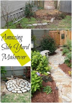 Amazing side yard makeover with a circular granite patio.  http://www.hometalk.com/l/4YS