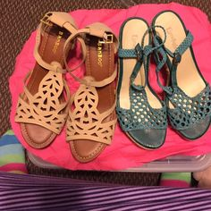 Two pair for the price of one. Bamboo (beige) Lime light (green). Size 10 both pair. Shoes beige pair are new never worn. The green pair gently worn. Both shoes are ready to be sold and more to sale. Bamboo Shoes Espadrilles