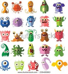 Cartoon Drawing Design Cartoon cute monsters and bacterias in flat design - stock vector - Doodle Monster, Monster Drawing, Monster Face, Cute Monsters Drawings, Cartoon Monsters, Little Monsters, Cartoon Characters, Character Design Sketches, Character Art