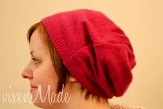 Slouchy hat made from a sweater; would be cuter with a knit, dunno if that's as easy