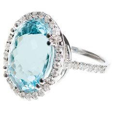Natural Oval Aquamarine Diamond Gold Halo Ring | From a unique collection of vintage cocktail rings at https://www.1stdibs.com/jewelry/rings/cocktail-rings/
