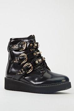Triple Buckle Platform Boots