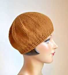Knit Beret in Caramel Alpaca Wool Hand Knitted by HatsWithAPast