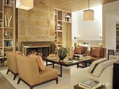 Modern Neutral Living Area Fireplace Interior Designer: Paul Vincent Wiseman and James Hunter, The Wiseman Group Architect: Charlie Barnett, Charlie Barnett Associates