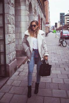 Kenza: Fashion Cognoscenti Inspiration: Brownstone / Acne Studios Shearling Jacket + Celine Bag
