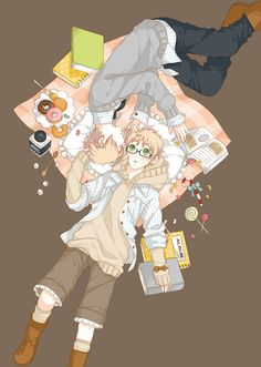 Hetalia USUK. Iggy has glasses on *squee*- alright this is just too cute to pass