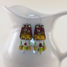 Brick Yellow Enameled Chandelier Earrings by CinLynnBoutique