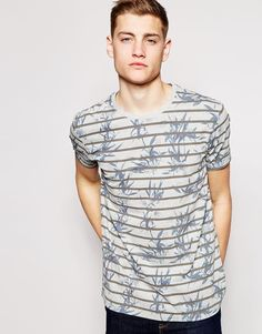 Image 1 of ASOS T-Shirt With Floral Stripe Print And Relaxed Skater Fit