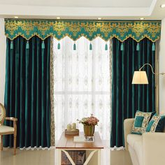 New arrival Twynam Blue and Green Plain Waterfall and Swag Valance and Sheers Custom Made Chenille Velvet Curtains Pair For Living Room- - Custom Curtains Drapes Draperies Sheers Rods and Tracks Ikea Curtains, Curtains Behind Bed, Dark Curtains, Purple Curtains, Floral Curtains, Curtains Living, Velvet Curtains, Colorful Curtains, Hanging Curtains