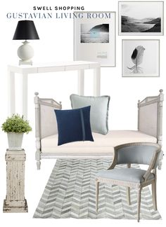 Pale blue and green Gustavian living room via @thouswellblog