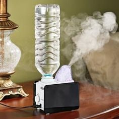 Portable Humidifier, uses a water bottle. Great for travel! So. Smart. Sold out, but must find this elsewhere. Amazon?