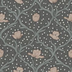 Tulippa by Boråstapeter - Dark Green and Pink - Wallpaper : Wallpaper Direct Pink Wallpaper, Pattern Wallpaper, Wallpaper Backgrounds, Scandi Wallpaper, Motif Design, Textile Design, Pattern Design, Wall Colors, House Colors