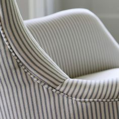 Bromley Wing Back Chair, Grey Ticking Stripe