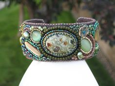 Bead embroidered cuff for Tracey. By Karen Lee