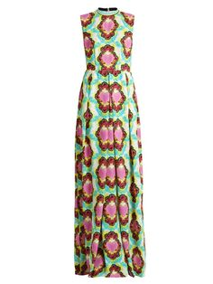 House Of Holland Heart and cloud-print crepe maxi dress