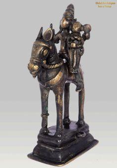 Antique Brass Sculpture Horse Vahana Khandoba & Mhalsa Warrior Figurine. G42-123 #Unbranded #Antique