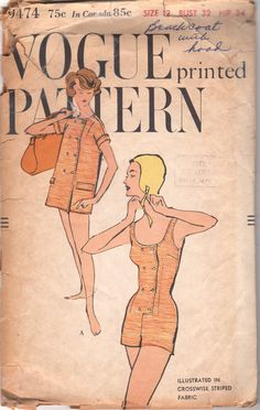 Vogue 9474 1950s One Piece Scoop Neck Bathing Suit and Double Breasted Beach Jacket womens vintage sewing pattern by mbchills